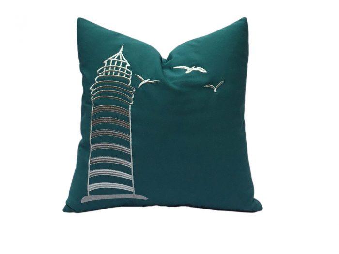 cojin la marina plata turquesa verdoso